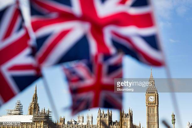 A display of UK Union Jack flags fly in front of The Houses of Parliament in London UK on Monday Feb 15 2016 UK lawmakers are not the only ones...