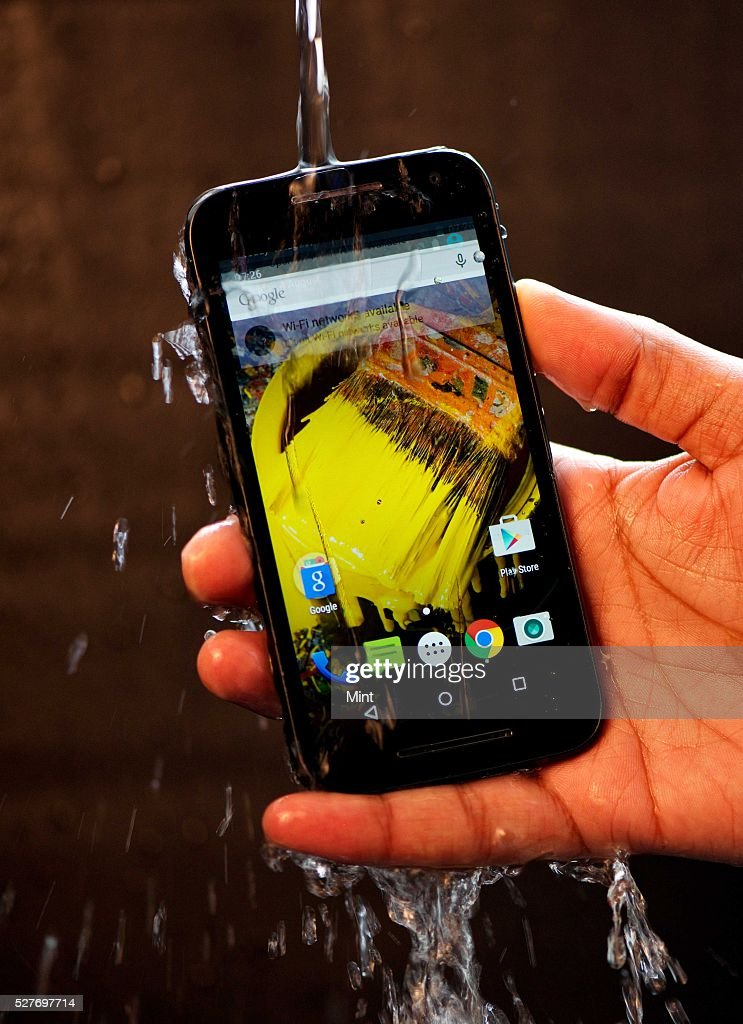 Display of Waterproof feature of Moto G (third generation) on August 4, 2015 in New Delhi, India.