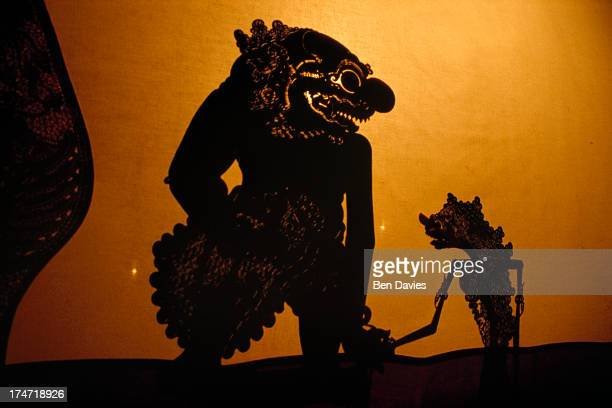 A display of 'wayang kulit' or shadow puppets in Yogyakarta the cultural centre of Java Puppet plays have their origins in Hindu epics like the...