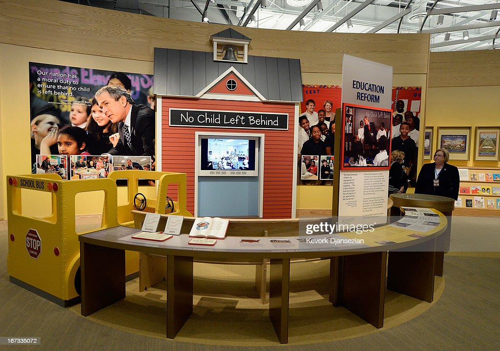 A display on the Bush administration's education reform is seen at the George W. Bush Presidential Center on the campus of Southern Methodist University i seen on April 24, 2013 in Dallas, Texas. Dedication of the George W. Bush Presidential Library is to take place on April 25 with all five living U.S. Presidents in attendance and an expected 8,000 invitation-only guests.