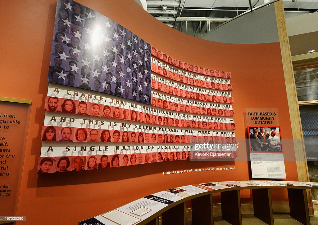 A display on the Bush administration's faith-based and community initiative is seen at the George W. Bush Presidential Center on the campus of Southern Methodist University i seen on April 24, 2013 in Dallas, Texas. Dedication of the George W. Bush Presidential Library is to take place on April 25 with all five living U.S. Presidents in attendance and an expected 8,000 invitation-only guests.