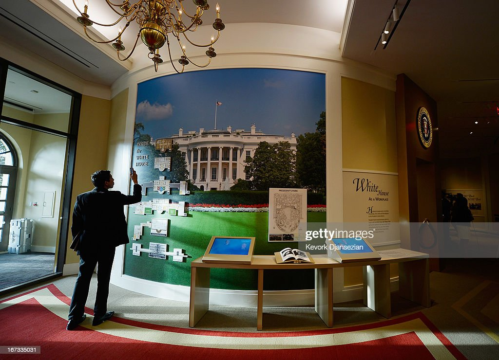 A display on the White House Workplace is seen at the George W. Bush Presidential Center on the campus of Southern Methodist University on April 24, 2013 in Dallas, Texas. Dedication of the George W. Bush Presidential Library is to take place on April 25 with all five living U.S. Presidents in attendance.
