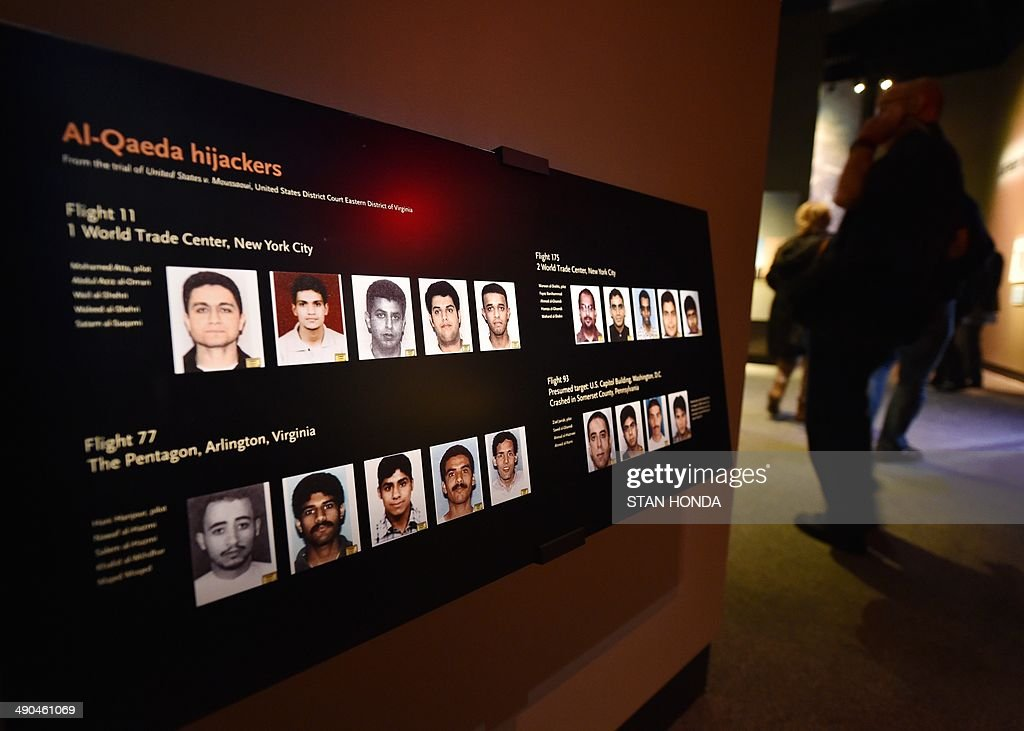 A display showing the Al-Qaeda hijackers, is seen during a press preview of the National September 11 Memorial Museum at the World Trade Center site May 14, 2014 in New York. AFP PHOTO/Stan HONDA