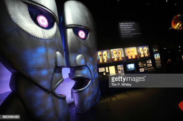 A display showing the Division Bell metal heads during a preview of the Pink Floyd Exhibition Their Mortal Remains at The VA on May 9 2017 in London...