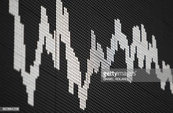 A display showing the German Stock Market Index DAX is pictured at the stock exchange in Frankfurt Germany on the last day of trade in 2015 on...
