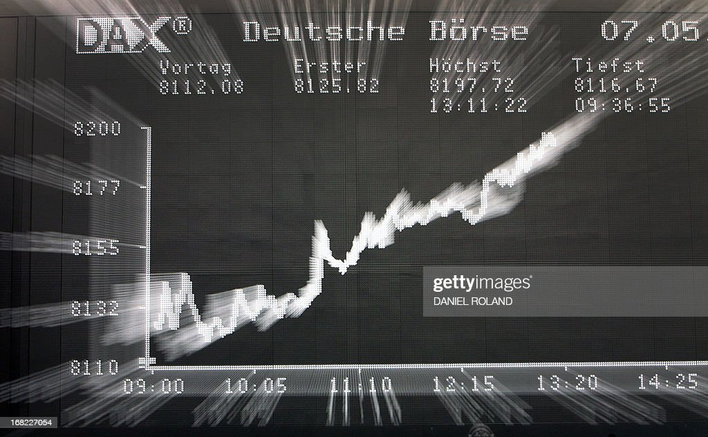 A display showing the German Stock Market Index DAX is seen at the stock exchange in Frankfurt, Germany, on May 7, 2013. Germany's blue-chip DAX 30 stock index topped an all-time intraday high in late morning on Tuesday, propelled by a raft of favourable corporate earnings reports, traders said. AFP PHOTO / DANIEL ROLAND