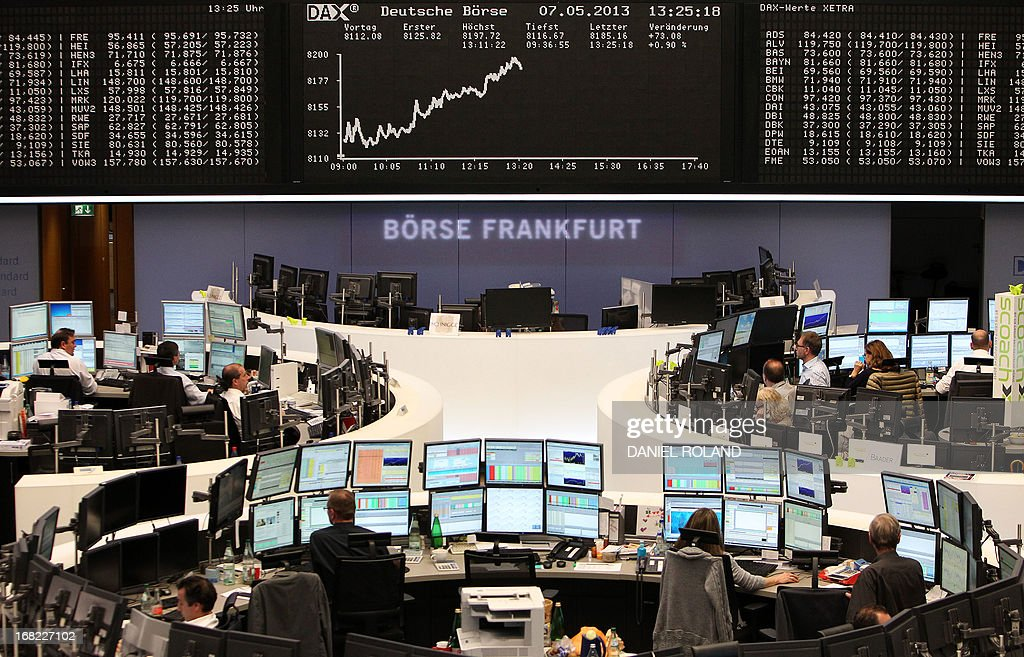 A display showing the German Stock Market Index DAX is seen at the stock exchange in Frankfurt, Germany, on May 7, 2013. Germany's blue-chip DAX 30 stock index topped an all-time intraday high in late morning on Tuesday, propelled by a raft of favourable corporate earnings reports, traders said.