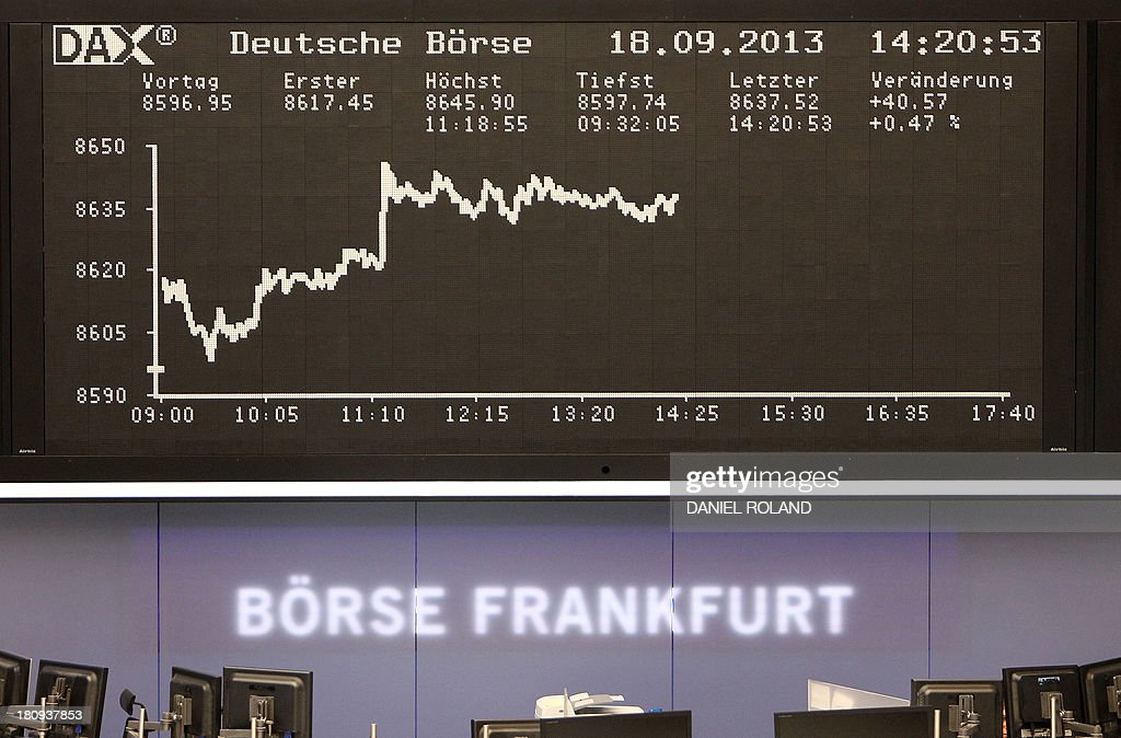A display showing the German stock market index DAX is seen at the stock exchange in Frankfurt/Main, Germany, on September 18, 2013.