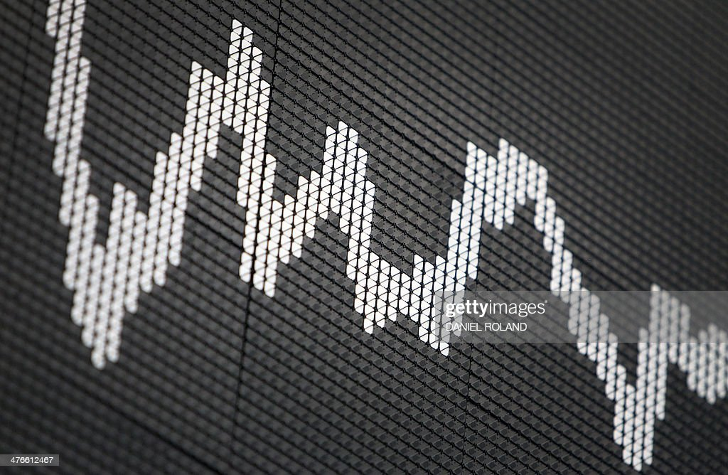 A display showing the German stock market index DAX is seen at the stock exchange in Frankfurt, Germany, March 4, 2014.