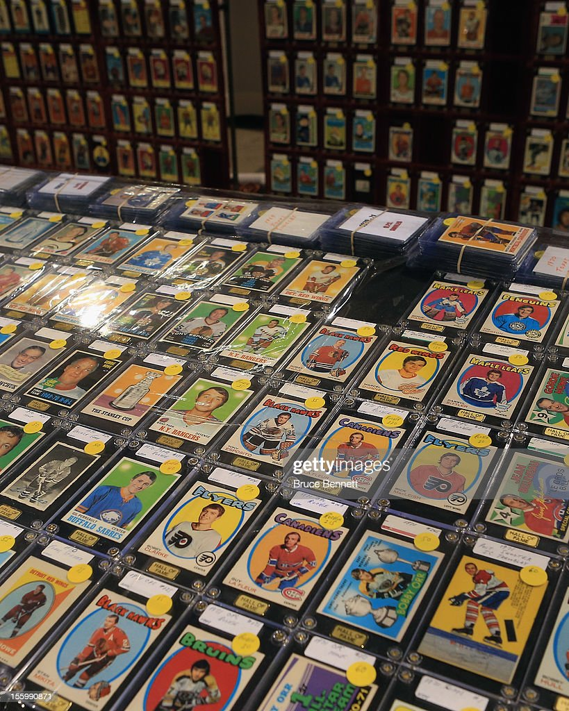 A display shows off hockey trading cards at the Sports Card and Memorabilia Expo at the Toronto International Centre on November 10, 2012 in Mississauga, Ontario, Canada.