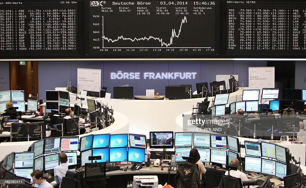 A display shows the German Stock Market Index DAX at the stock exchange in Frankfurt am Main, western Germany on April 3, 2014 after the European Central Bank held its key interest rates unchanged for the fifth month in a row. AFP PHOTO / DANIEL ROLAND