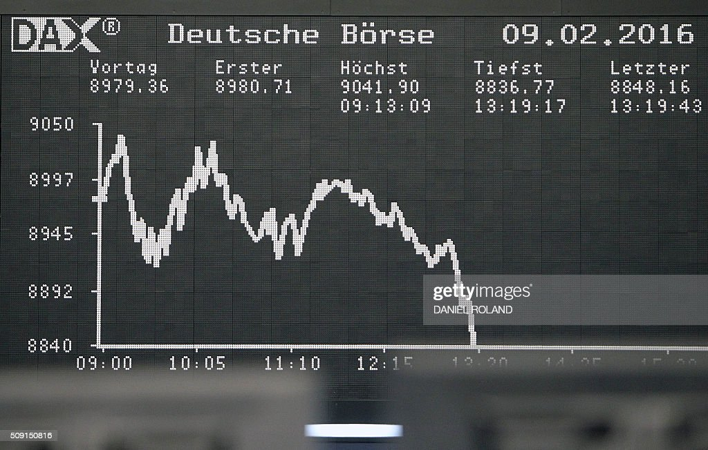A display shows the German Stock Market Index DAX graph at the stock exchange in Frankfurt, Germany, on February 9, 2016. / AFP / DANIEL ROLAND