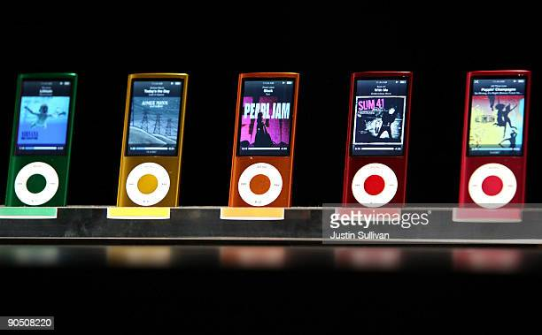 A display shows the range of colors for the new iPod Nano with video capabilities during an Apple special event September 9 2009 in San Francisco...