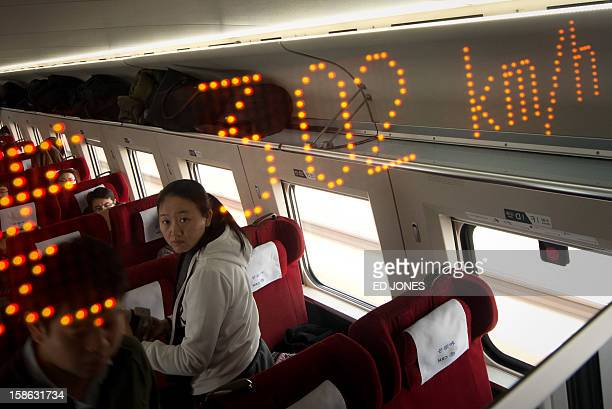 A display shows the speed aboard a highspeed train in Hebei province south of Beijing on December 22 2012 China showed off the final link of the...