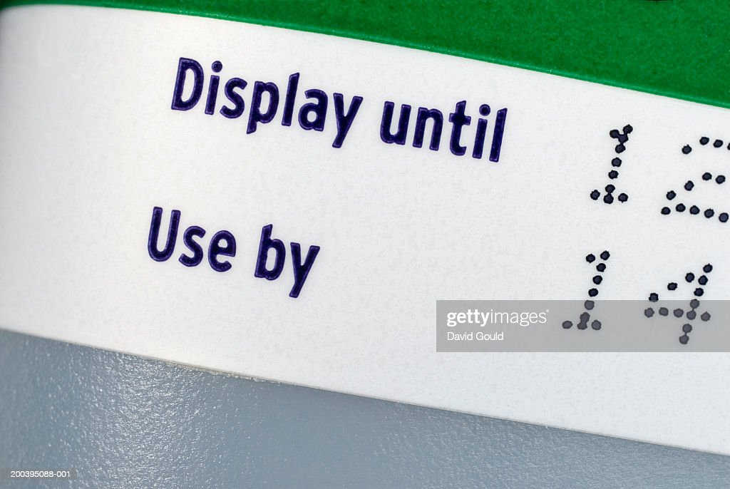 'Display until' and 'use by' sticker : Stock Photo