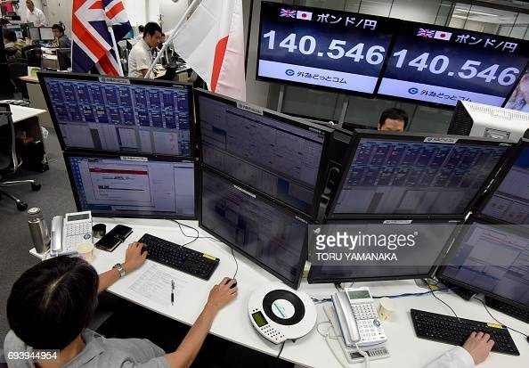 Displays Show Current Rate British Pound Japanese Yen Foreign Money