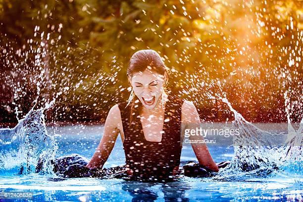 Displeased Beautiful Woman Portrait in a Pool