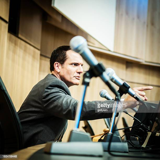 Displeased Politician at auditorium