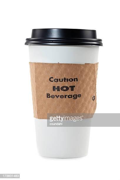 Wegwerfprodukt Kaffeetasse isoliert auf weiss