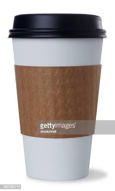 Bianco tazza di caffè monouso su