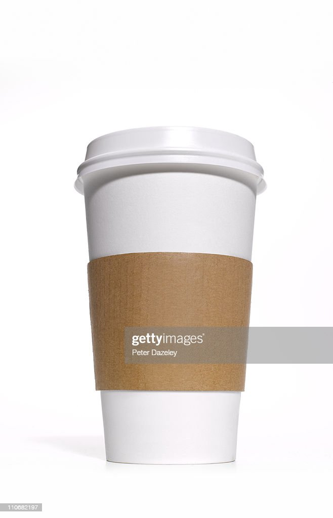Disposable coffee/tea cup with heat protector : Stock-Foto