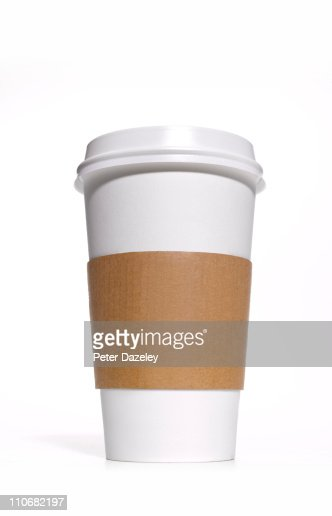 Disposable coffee/tea cup with heat protector : Stock Photo