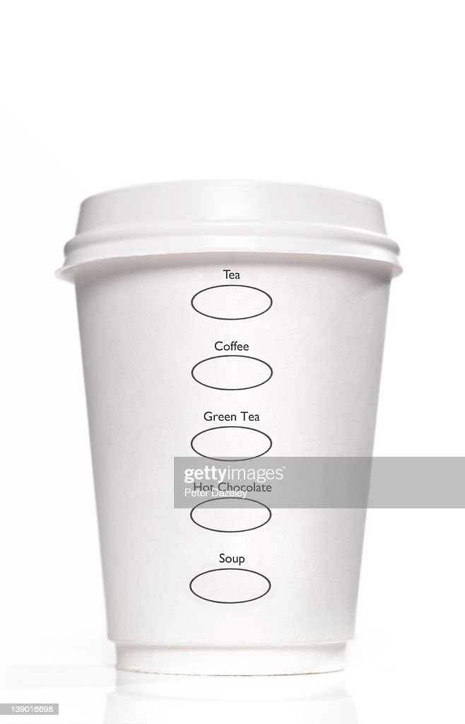 Disposable cup with drink options : Stock Photo