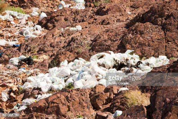 Disposable nappies thrown away in Tamazight in the Anti Atlas mountains of Morocco