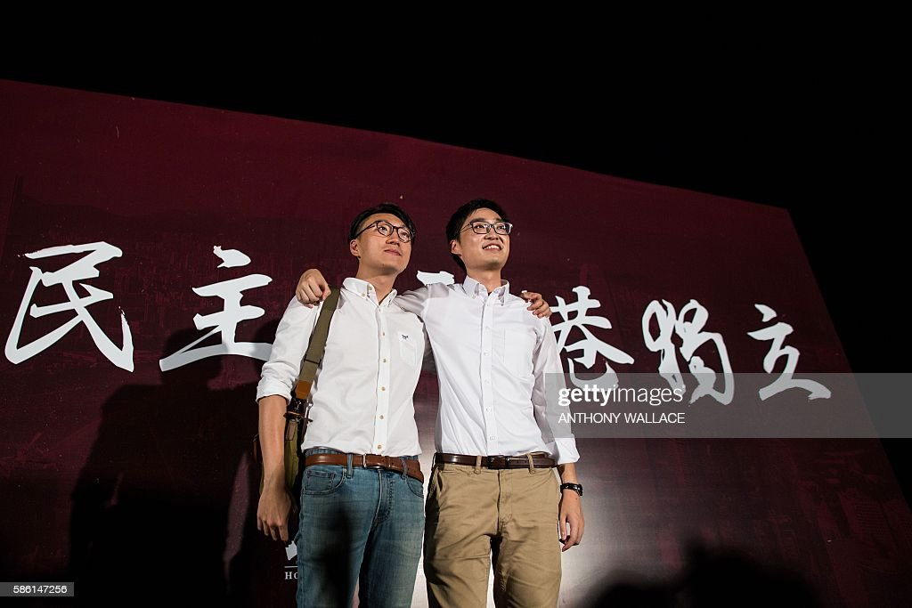 Disqualified candidates of upcoming elections Edward Leung the leader of new party Hong Kong Indigenous and Andy Chan leader of the proindependence...