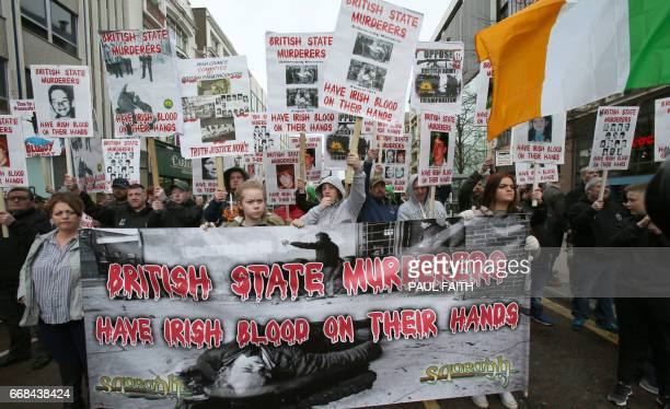Dissident Republicans opposed to a protest by Veterans of the Northern Ireland Troubles and of conflicts march to the City Hall where they were...