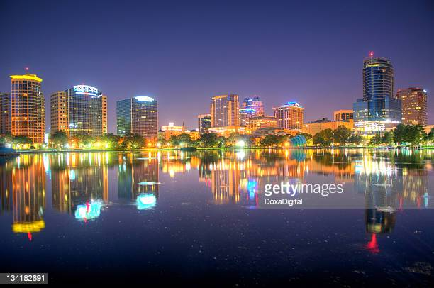 A distance photo of the Orlando skyline in the early morning