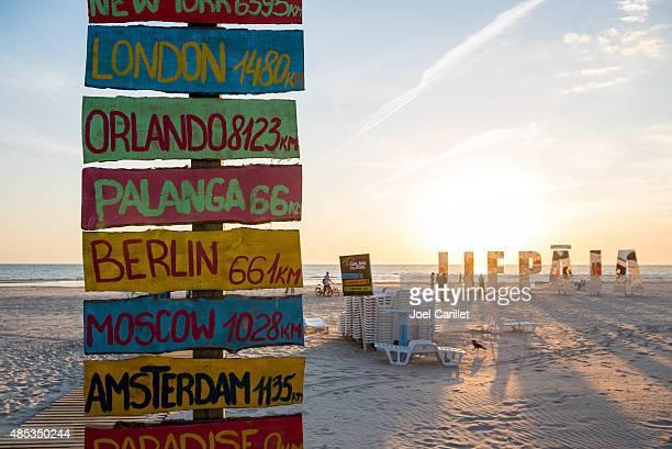 Distances to cities from the beach Liepaja, Latvia
