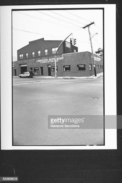 Distant front view of Complete Auto Body Fender Inc shop owned by Caspar Buttafuoco father of Joey Buttafuoco whose wife Mary Jo was shot in the head...