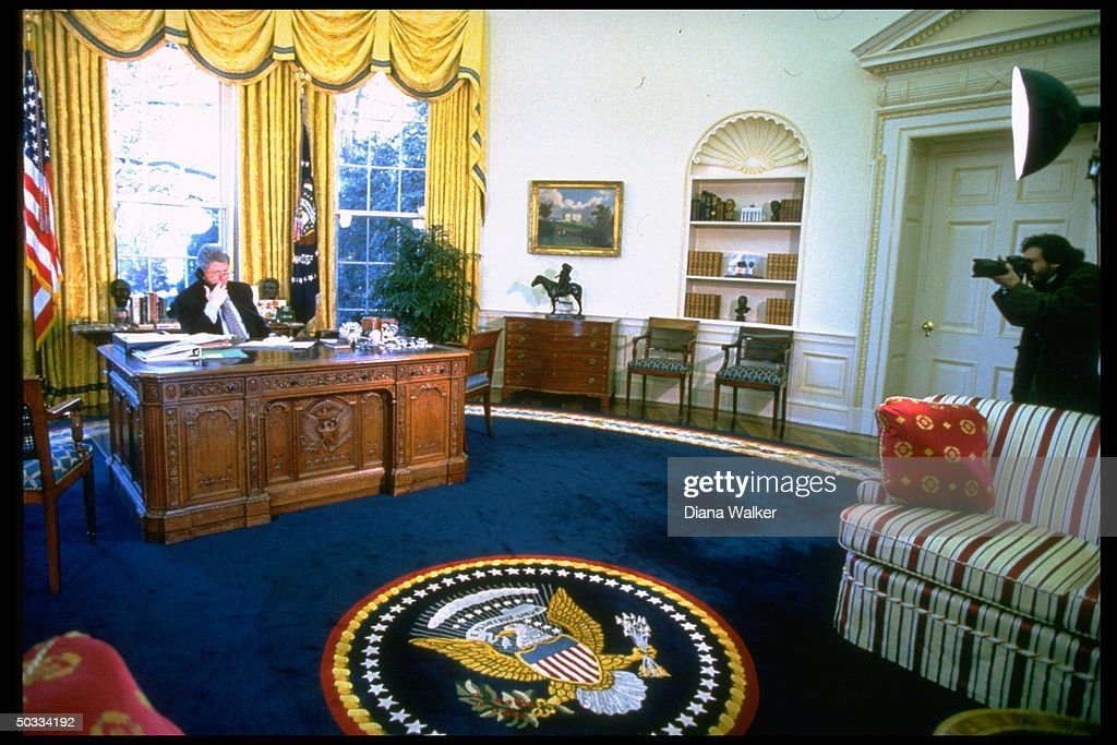 recreating oval office. Oval Office Photos. Distant Of Pres Bill Clinton Talking On Phone At Desk In Recreating A
