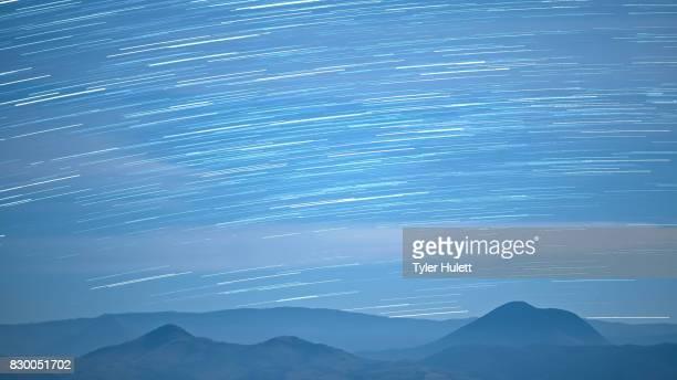 Distant Oregon Hills in the Desert Night Sky Star Trails Over Oregon