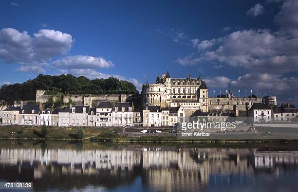 Distant view of Amboise castle and the Loire river