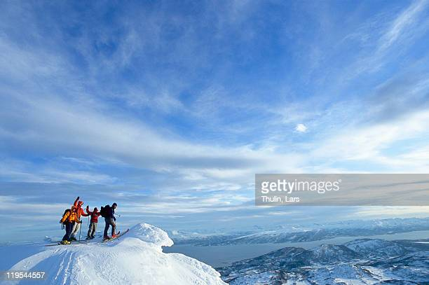 Distant view of climbers on mountain