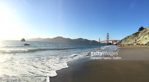 Distant View Of Golden Gate Bridge Over San Francisco Bay