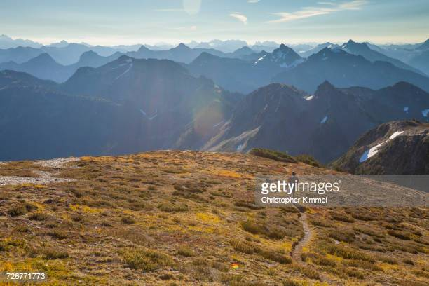 Distant View Of Male Backpacker In North Cascades National Park