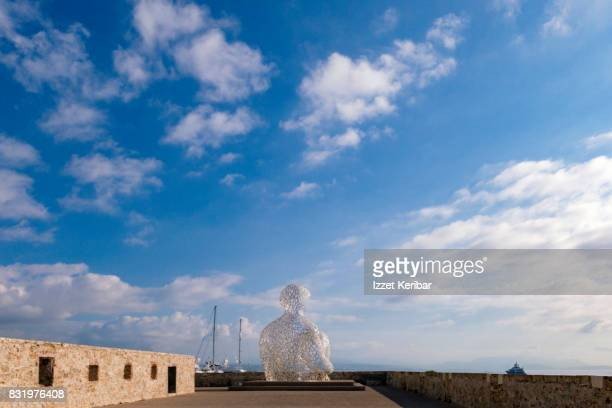 Distant view of metallic sculture at Port Vauban, Antibes yacht port, Alpes Maritimes, France