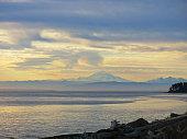 Distant view of Mount Baker from Patos Island, San Juan Islands, Washington State, USA