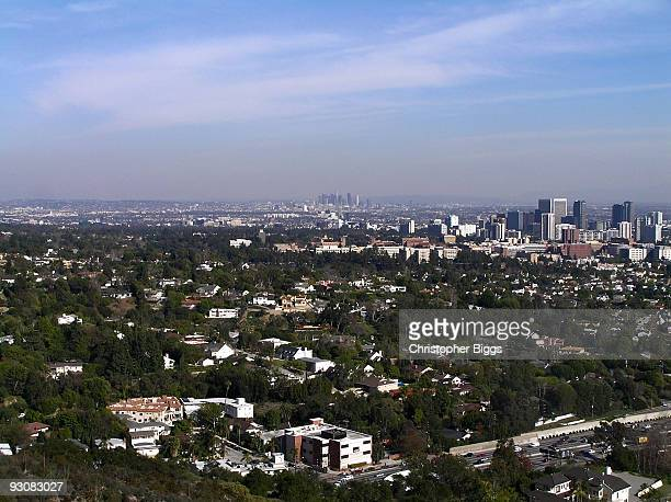 Distant view over the suburbs of Los Angeles