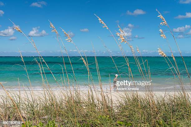Distant woman runs along sand beach, past grasses