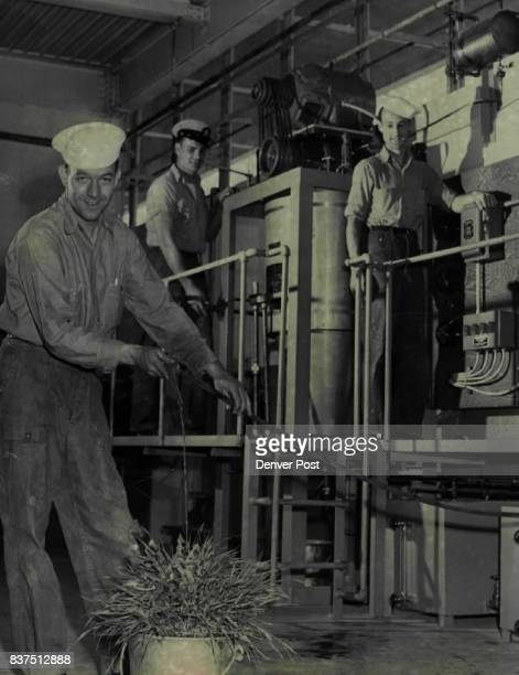 A distilling unit used by the United States navy to make fresh water from salt water is tested at the naval reserve training center at federal center...