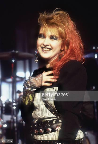Distinctive American pop singer Cyndi Lauper circa 1985