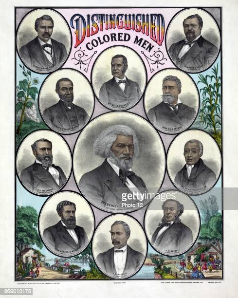 Distinguished coloured men by A Muller Co c1883 Chicago Illinois Head and shoulder portraits Frederick Douglass Blanche Kelso Bruce William Wells...