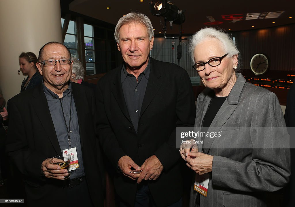 AFI Distinguished Scholar-In-Residence Jim Hosney, actor <a gi-track='captionPersonalityLinkClicked' href=/galleries/search?phrase=Harrison+Ford+-+Actor+-+Born+1942&family=editorial&specificpeople=11508906 ng-click='$event.stopPropagation()'>Harrison Ford</a> and Jean Firstenberg attend Target Presents AFI's Night at the Movies at ArcLight Cinemas on April 24, 2013 in Hollywood, California.