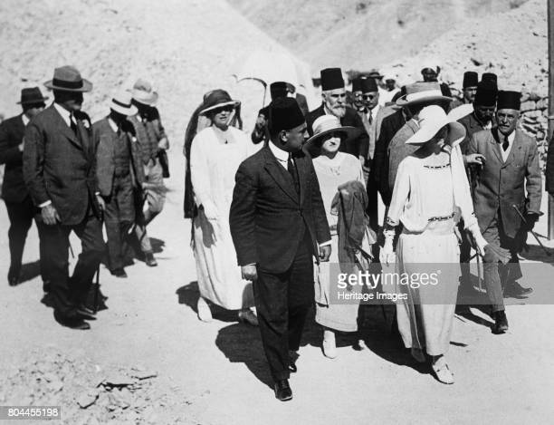 Distinguished visitors to the Tomb of Tutankhamun Valley of the Kings Egypt 1923 The Queen of the Belgians Lord Allenby and Lady Allenby approaching...