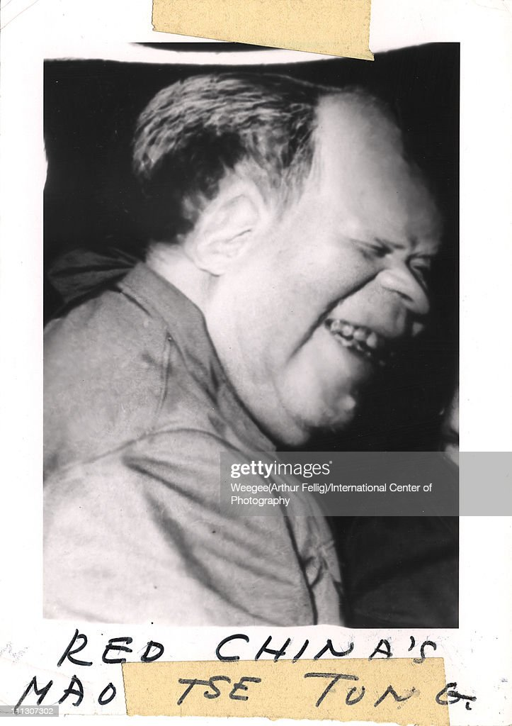 Distorted image of a Chinese dicator and chairman of the People's Republic of China Mao Zedong (Tse-Tung) (1893 - 1976) as he smiles in profile, 1966. The hand written text at the bottom reads 'Red China's Mas Tse Tong.' (Photo by Weegee(Arthur Fellig)/International Center of Photography/Getty Images)