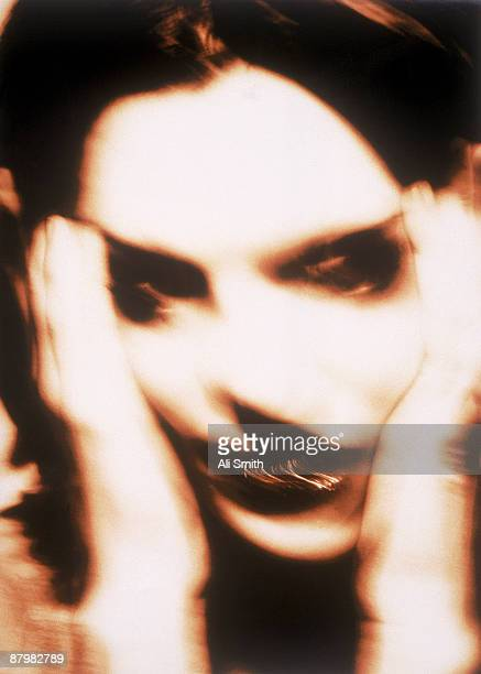 Distorted image of woman screaming